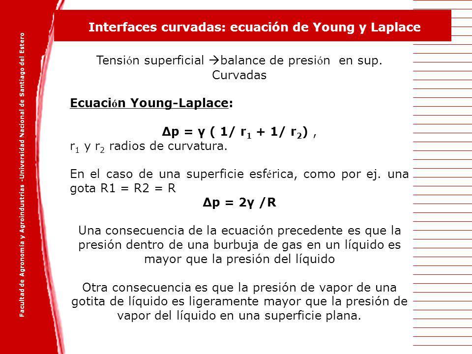 Tensión superficial balance de presión en sup. Curvadas