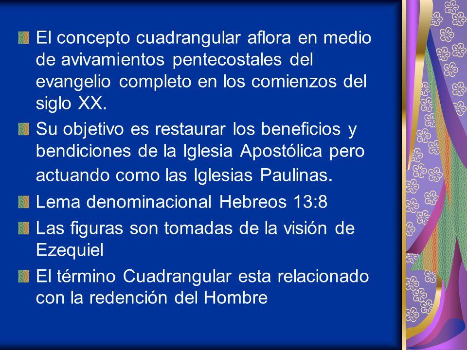 El concepto cuadrangular aflora en medio de avivamientos pentecostales del evangelio completo en los comienzos del siglo XX.