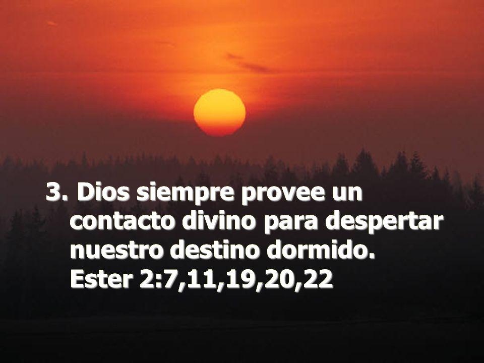 Dios siempre provee un contacto divino para despertar nuestro destino dormido. Ester 2:7,11,19,20,22