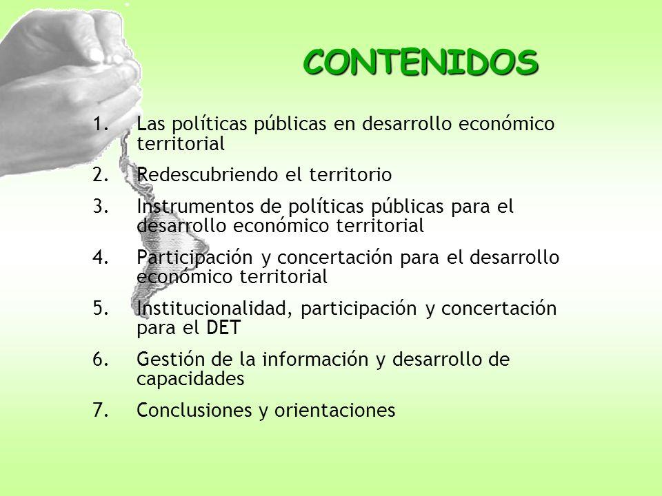 CONTENIDOS Las políticas públicas en desarrollo económico territorial