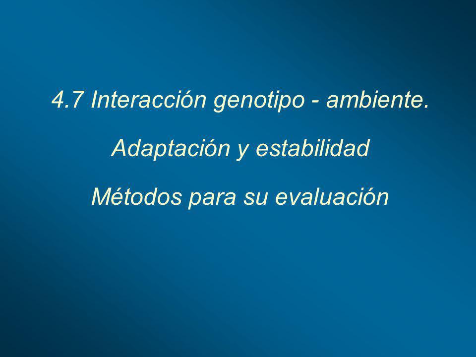 4.7 Interacción genotipo - ambiente. Adaptación y estabilidad