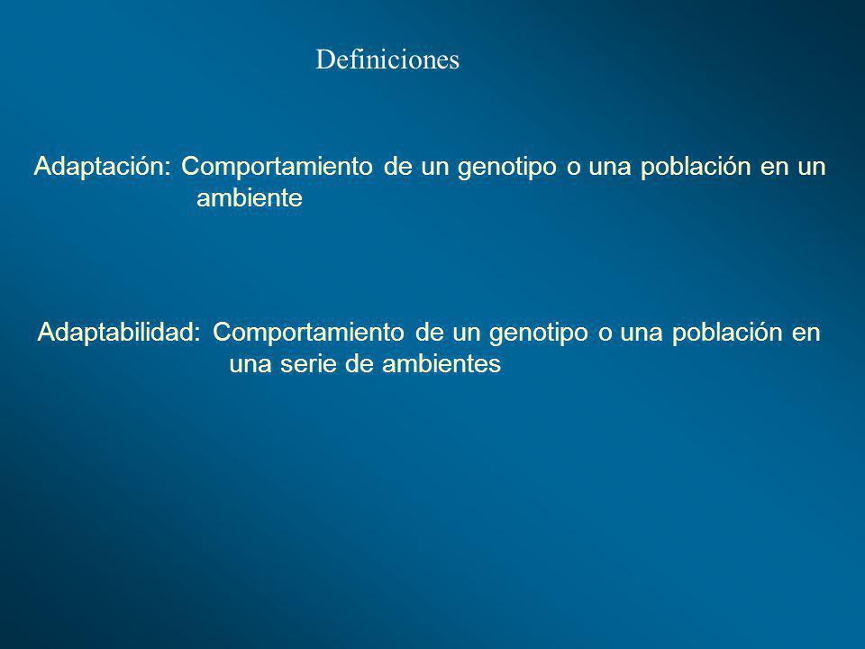 Definiciones Adaptación: Comportamiento de un genotipo o una población en un. ambiente.