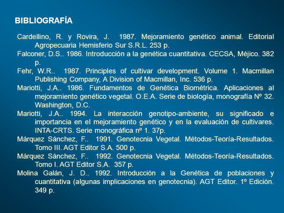 BIBLIOGRAFÍA Cardellino, R. y Rovira, J. 1987. Mejoramiento genético animal. Editorial Agropecuaria Hemisferio Sur S.R.L. 253 p.