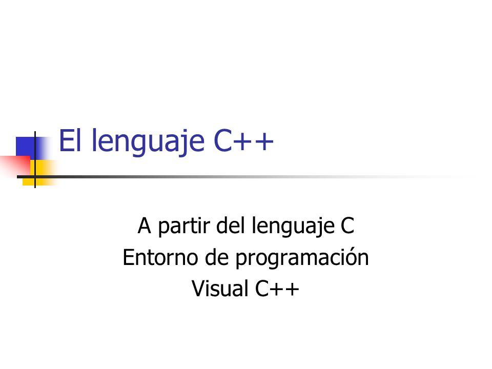 A partir del lenguaje C Entorno de programación Visual C++