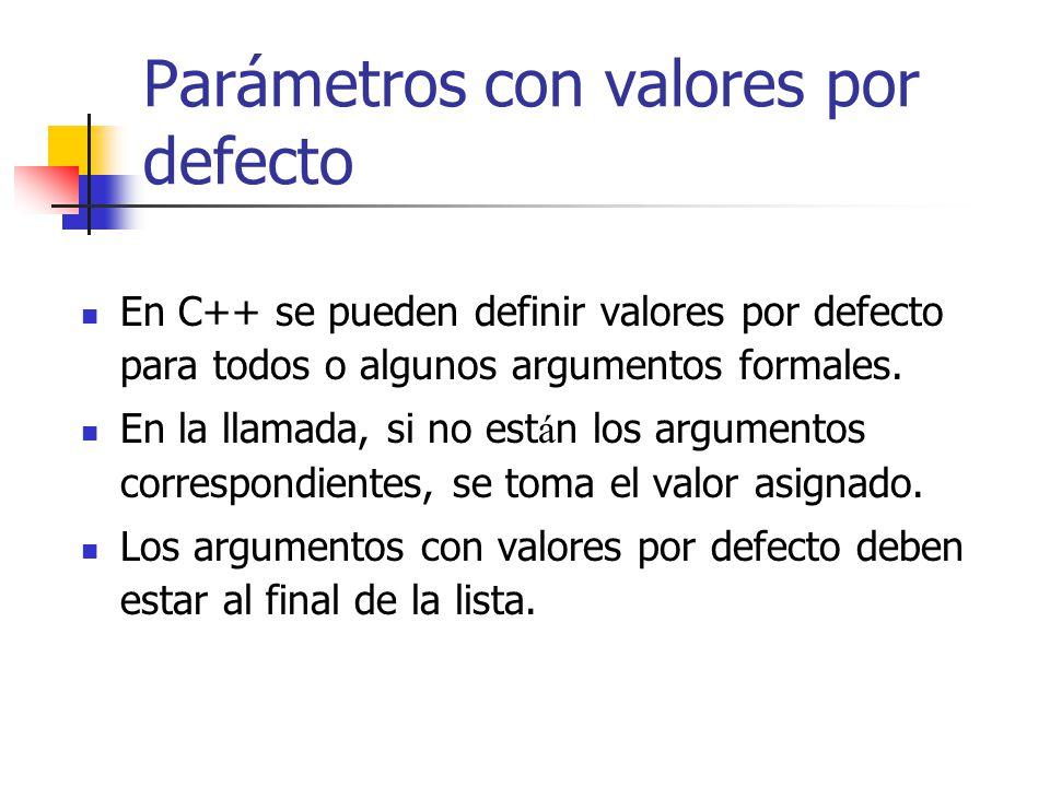 Parámetros con valores por defecto