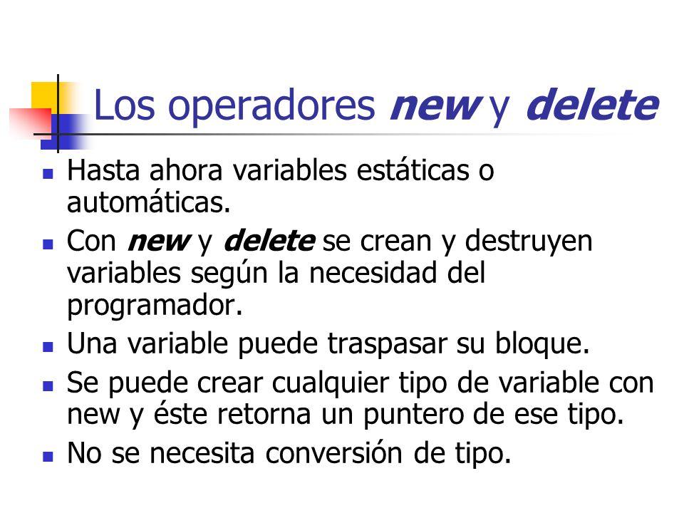 Los operadores new y delete