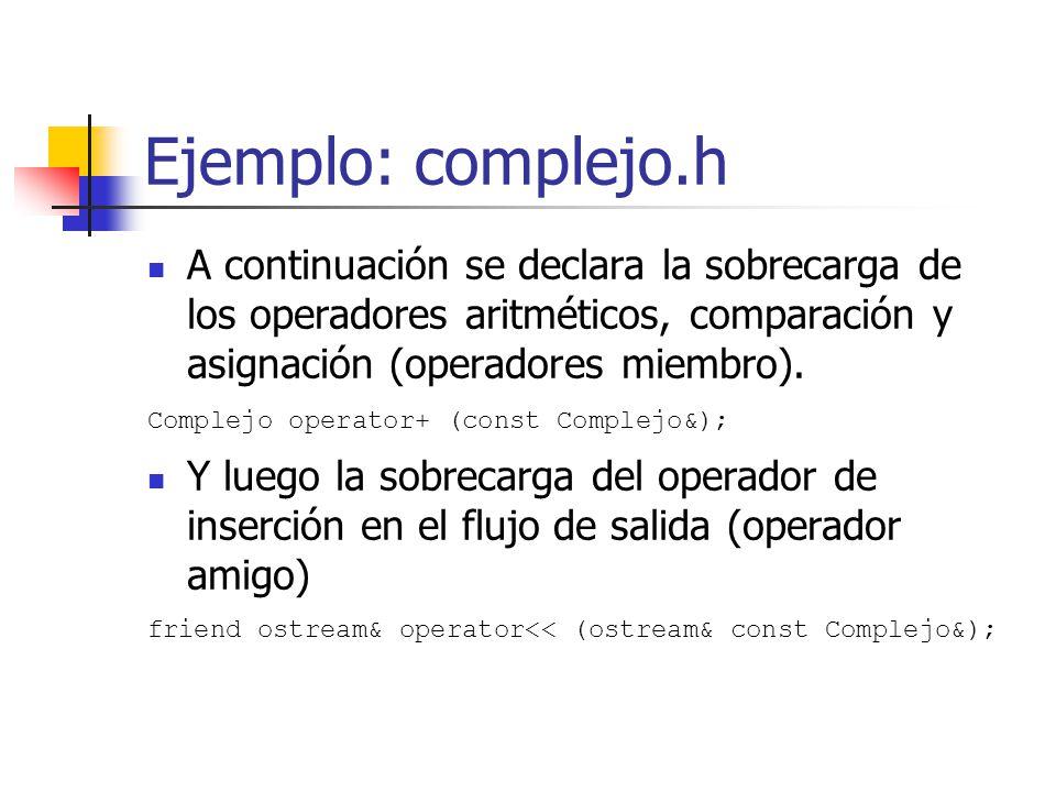 Ejemplo: complejo.h A continuación se declara la sobrecarga de los operadores aritméticos, comparación y asignación (operadores miembro).