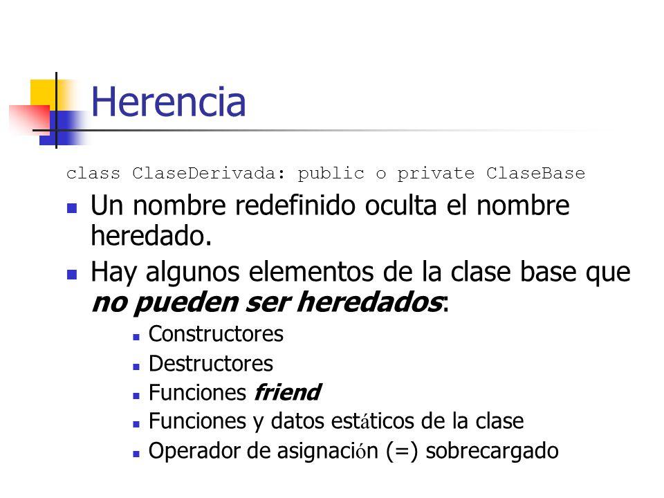 Herencia Un nombre redefinido oculta el nombre heredado.