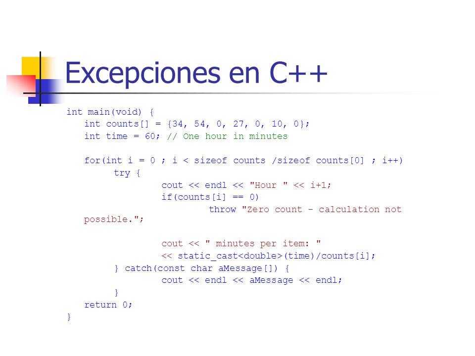 Excepciones en C++ int main(void) {