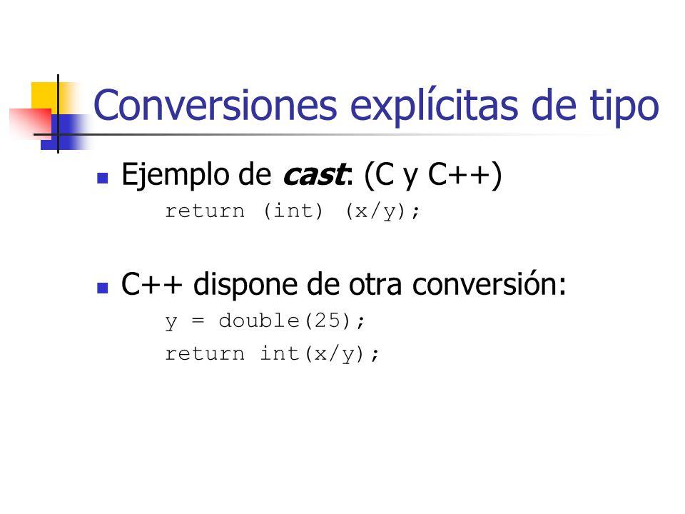 Conversiones explícitas de tipo