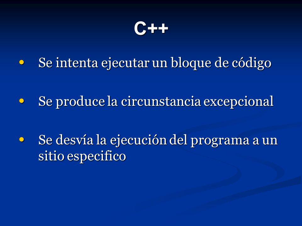 C++ Se intenta ejecutar un bloque de código