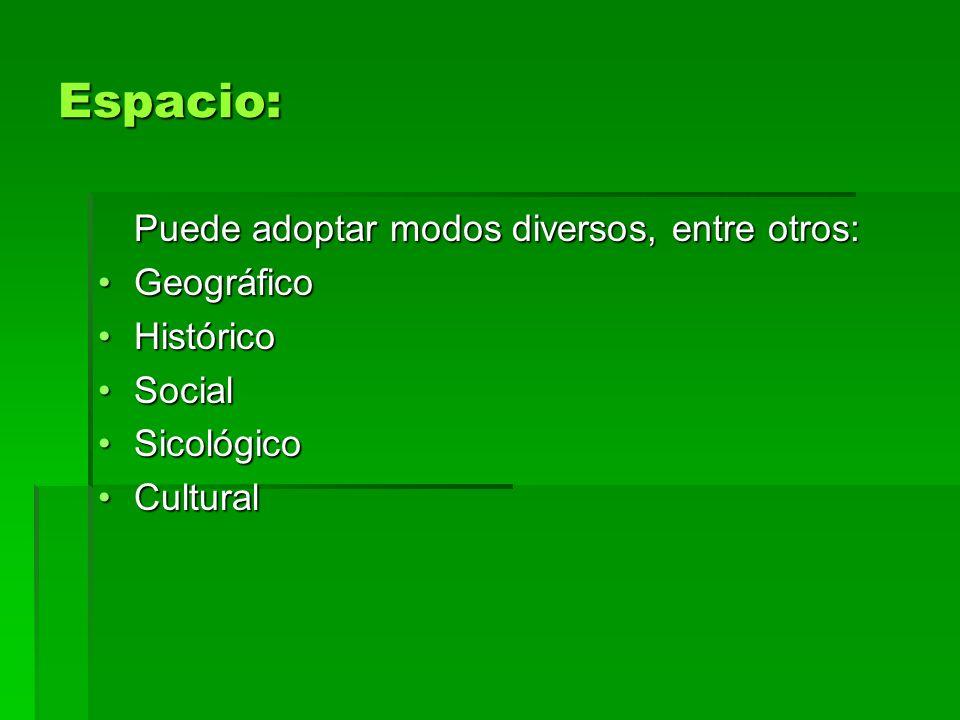 Espacio: Puede adoptar modos diversos, entre otros: Geográfico