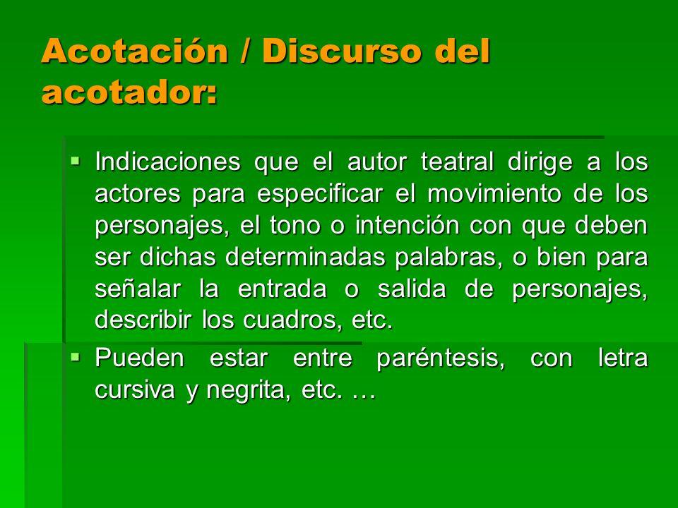 Acotación / Discurso del acotador:
