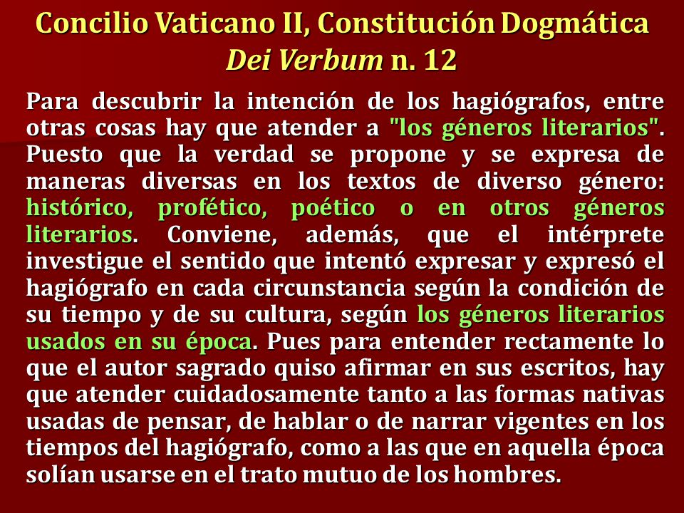Concilio Vaticano II, Constitución Dogmática Dei Verbum n. 12