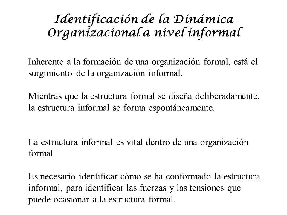 Identificación de la Dinámica Organizacional a nivel informal