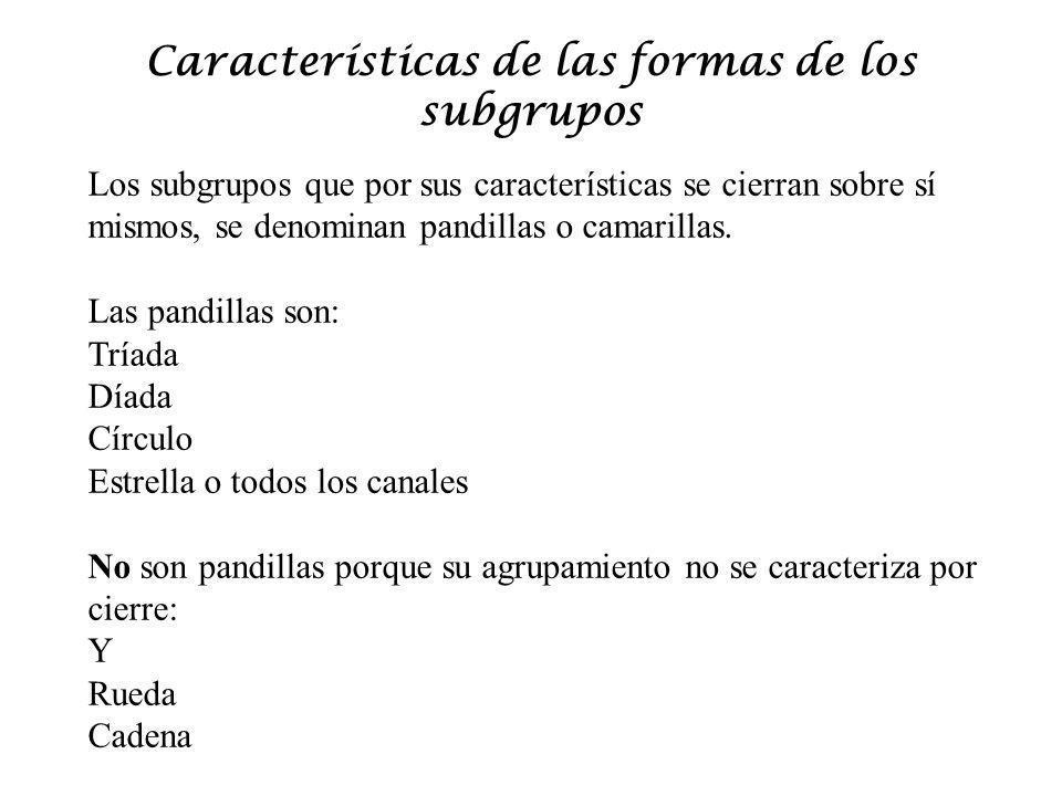 Características de las formas de los subgrupos