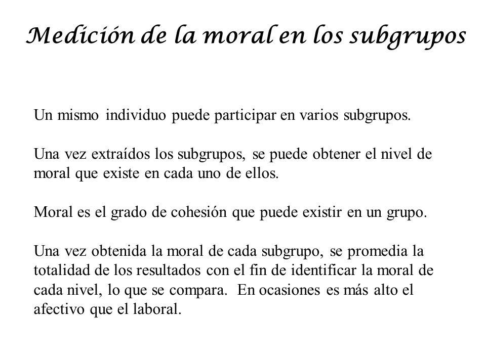 Medición de la moral en los subgrupos