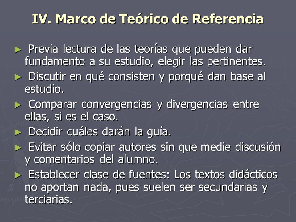 IV. Marco de Teórico de Referencia
