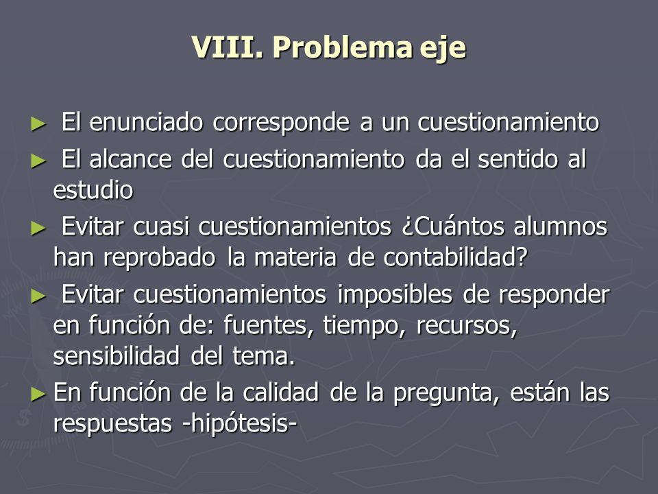 VIII. Problema eje El enunciado corresponde a un cuestionamiento