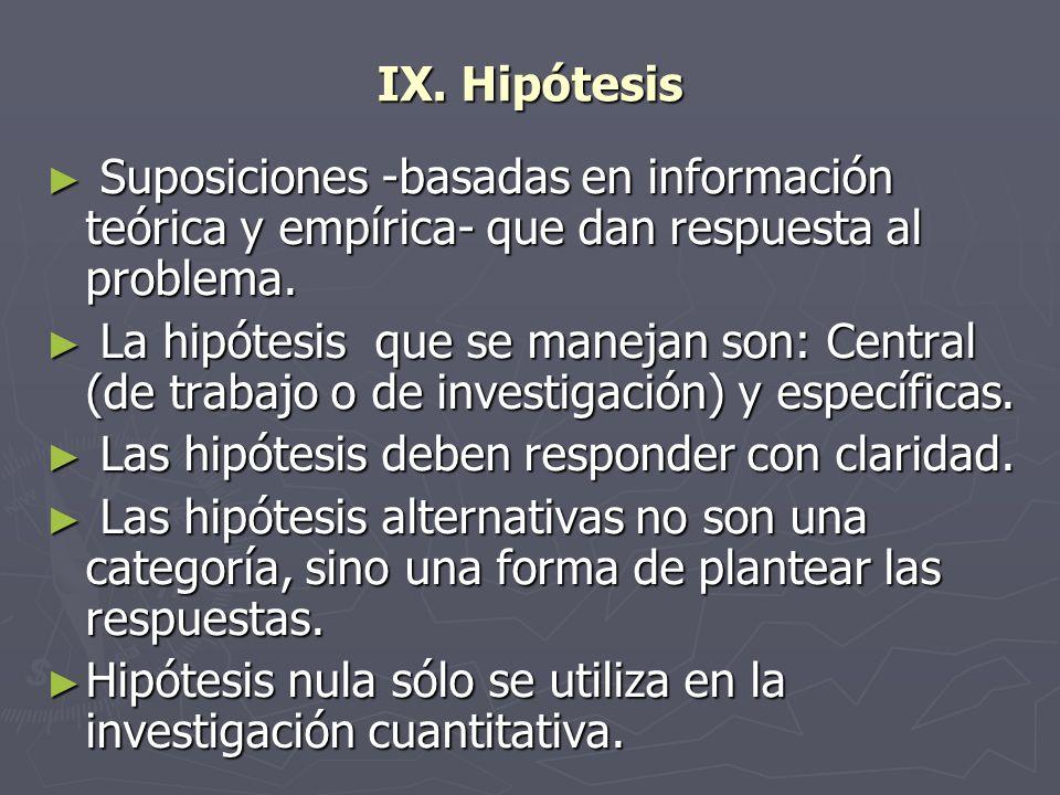 IX. HipótesisSuposiciones -basadas en información teórica y empírica- que dan respuesta al problema.