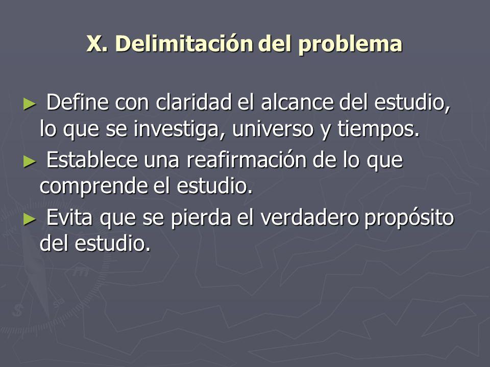 X. Delimitación del problema