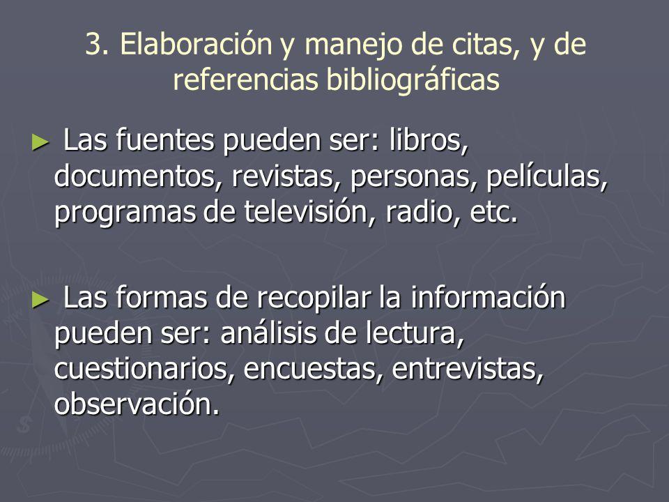 3. Elaboración y manejo de citas, y de referencias bibliográficas