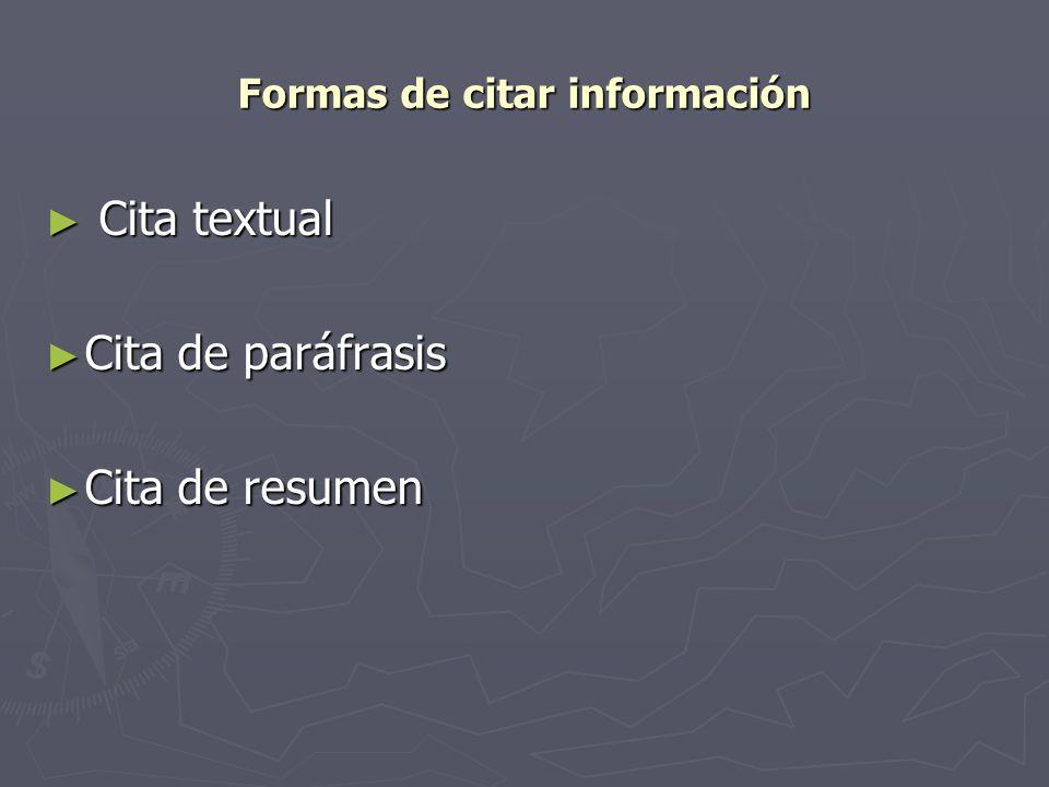 Formas de citar información
