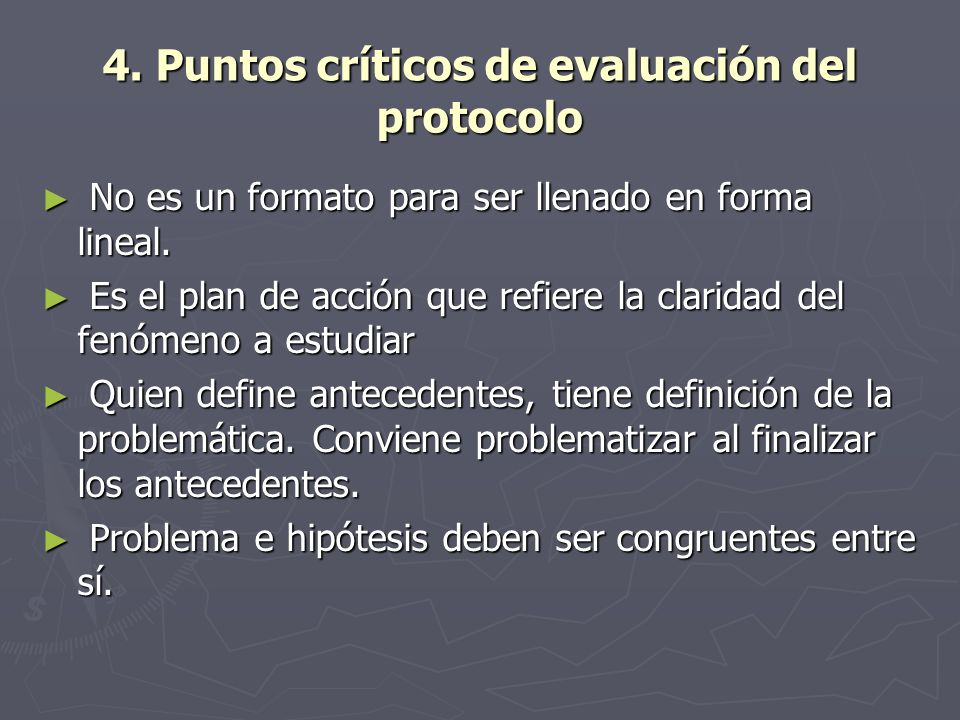 4. Puntos críticos de evaluación del protocolo