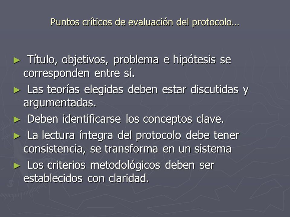 Puntos críticos de evaluación del protocolo…
