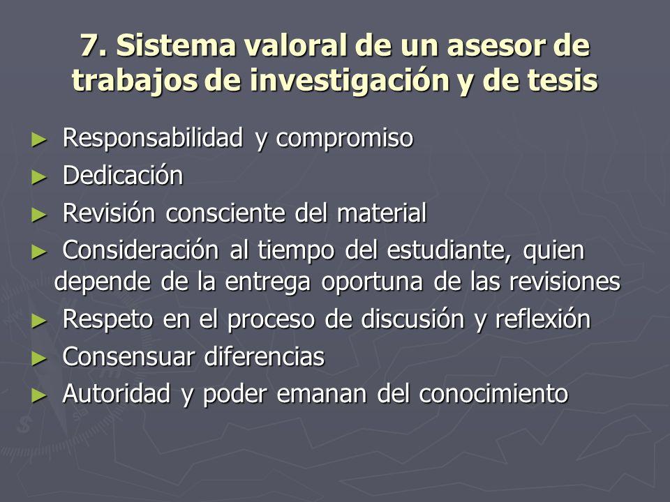 7. Sistema valoral de un asesor de trabajos de investigación y de tesis