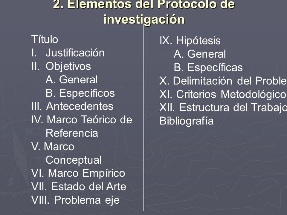 2. Elementos del Protocolo de investigación