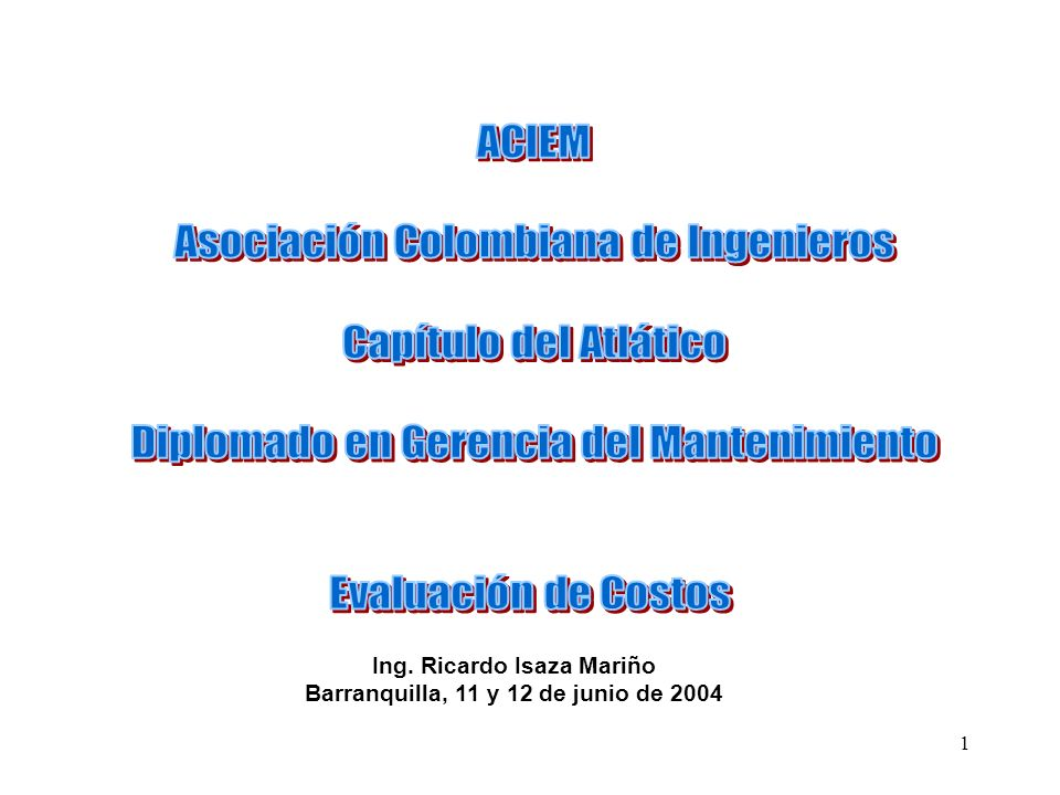 Ing. Ricardo Isaza Mariño Barranquilla, 11 y 12 de junio de 2004