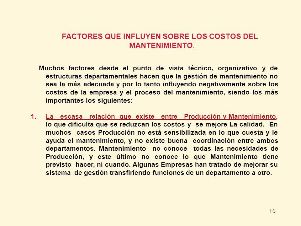FACTORES QUE INFLUYEN SOBRE LOS COSTOS DEL MANTENIMIENTO.