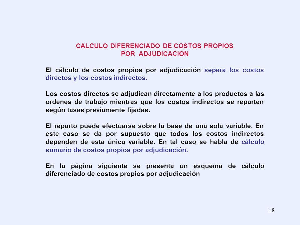 CALCULO DIFERENCIADO DE COSTOS PROPIOS