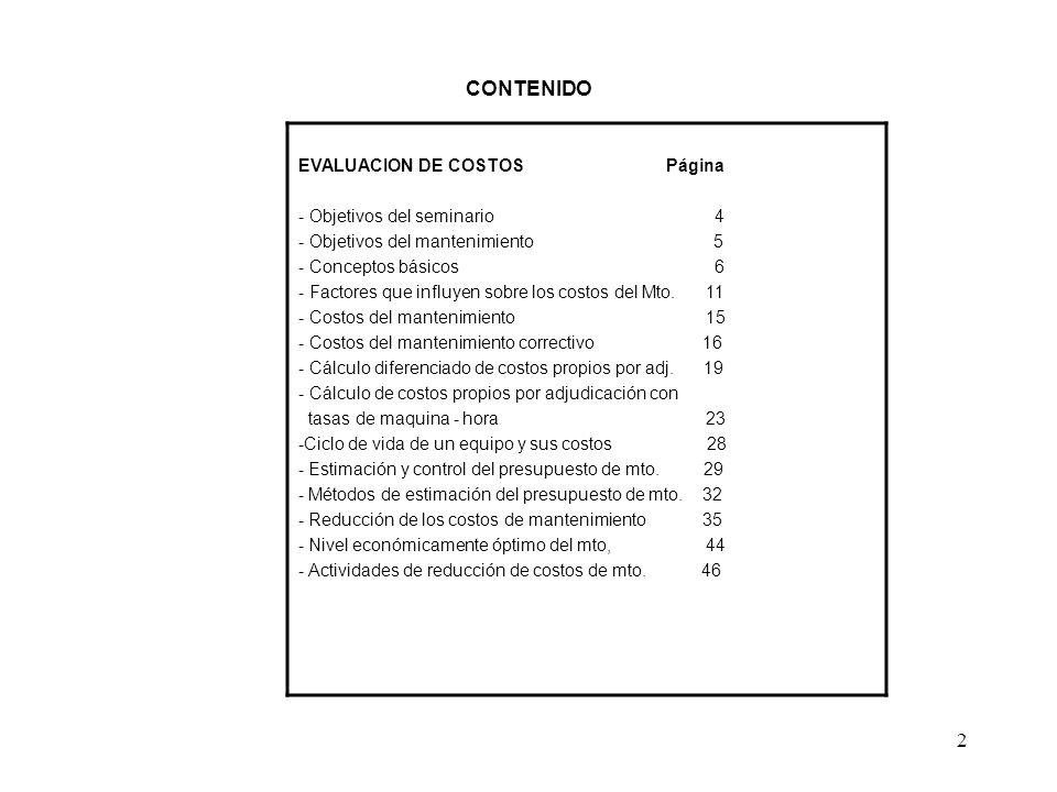 CONTENIDO EVALUACION DE COSTOS Página - Objetivos del seminario 4