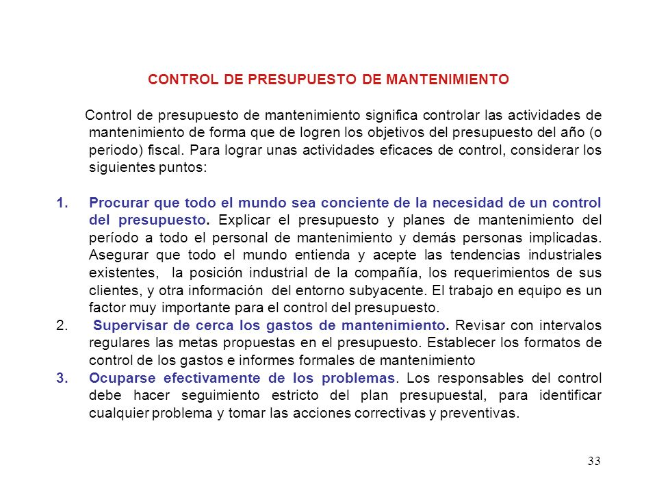 CONTROL DE PRESUPUESTO DE MANTENIMIENTO