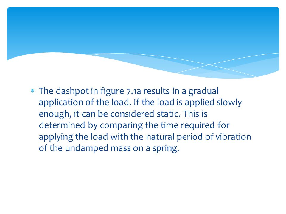 The dashpot in figure 7.1a results in a gradual application of the load.