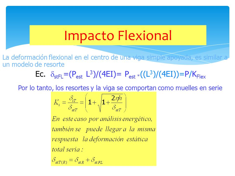 Impacto Flexional La deformación flexional en el centro de una viga simple apoyada, es similar a un modelo de resorte.