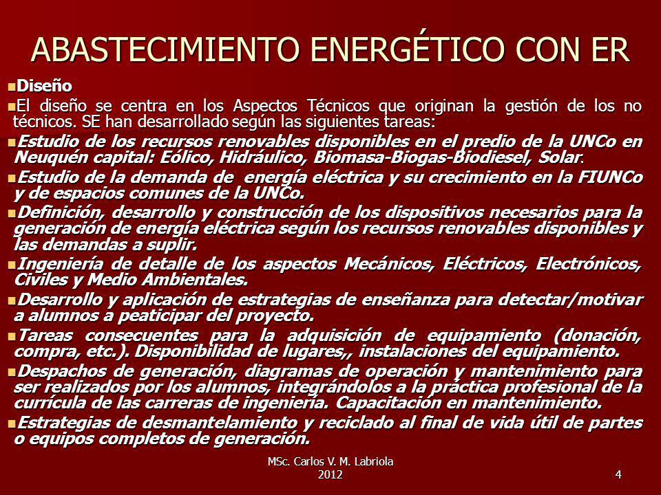 ABASTECIMIENTO ENERGÉTICO CON ER