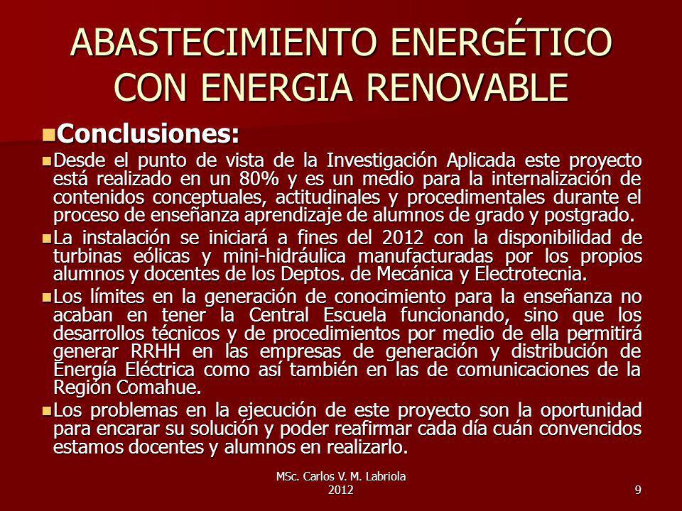 ABASTECIMIENTO ENERGÉTICO CON ENERGIA RENOVABLE
