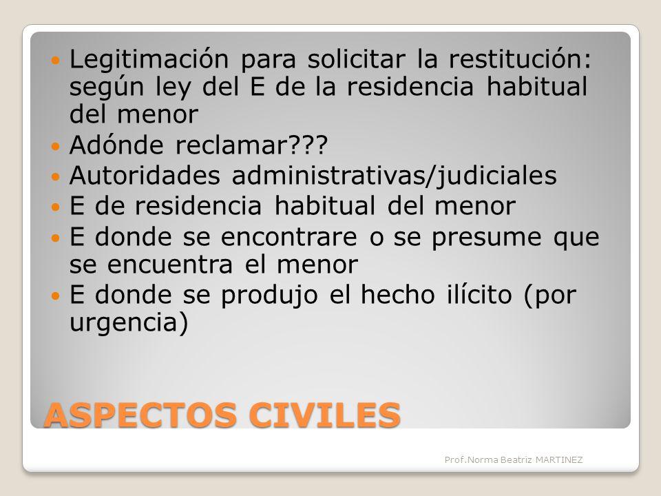 Legitimación para solicitar la restitución: según ley del E de la residencia habitual del menor