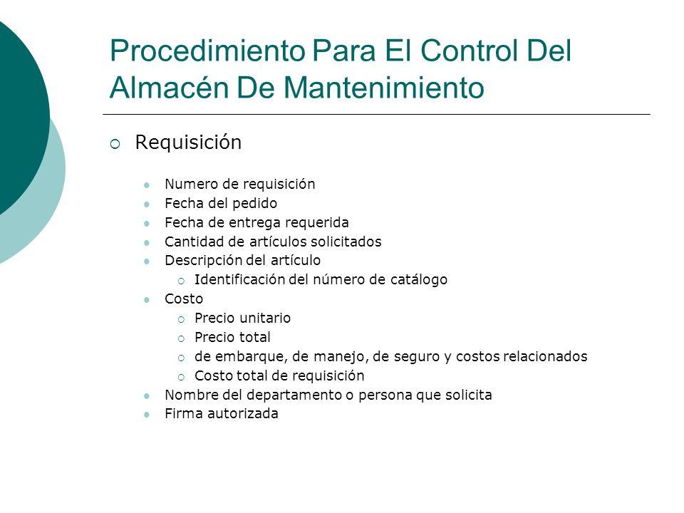Procedimiento Para El Control Del Almacén De Mantenimiento