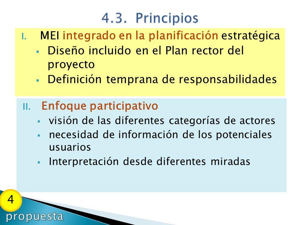 4.3. Principios MEI integrado en la planificación estratégica. Diseño incluido en el Plan rector del proyecto.
