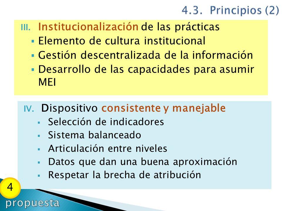4.3. Principios (2) 4 propuesta Institucionalización de las prácticas
