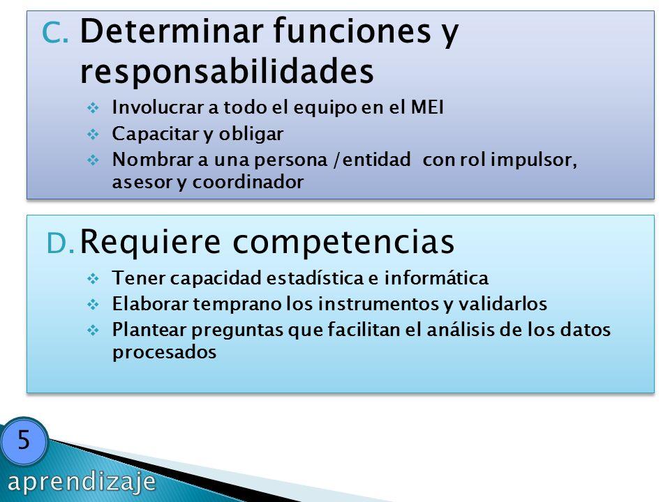 Determinar funciones y responsabilidades