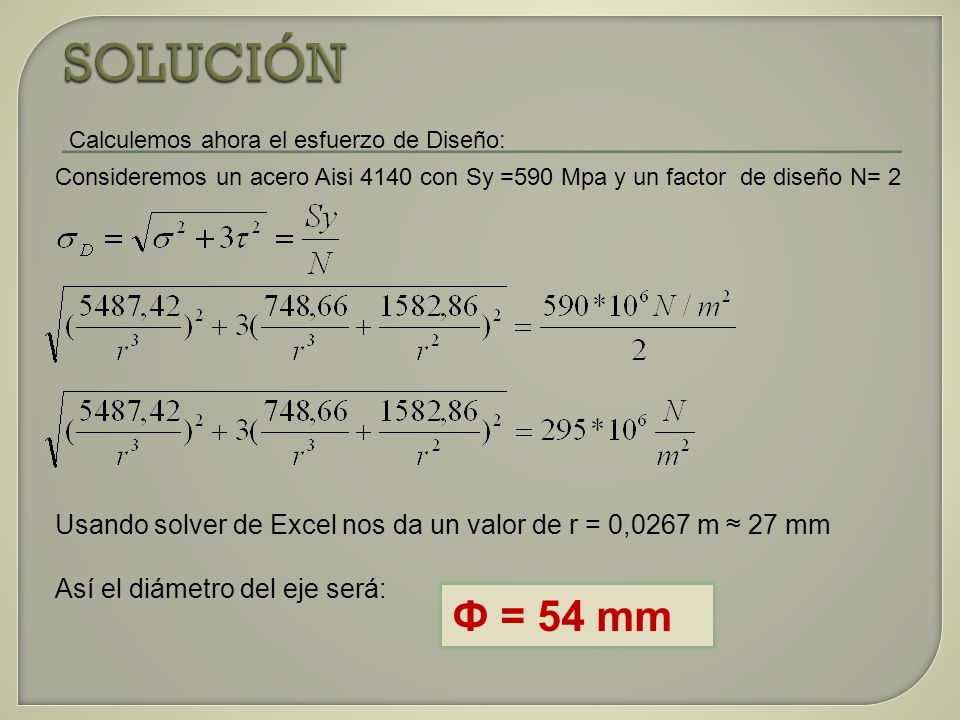 SOLUCIÓNCalculemos ahora el esfuerzo de Diseño: Consideremos un acero Aisi 4140 con Sy =590 Mpa y un factor de diseño N= 2.