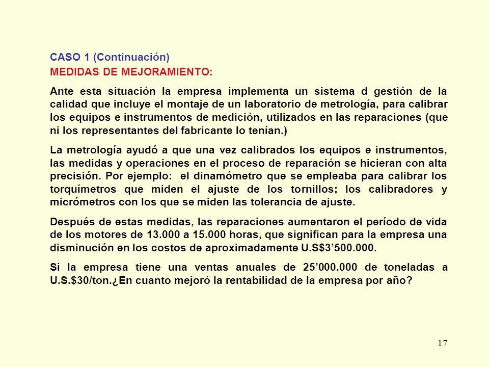 CASO 1 (Continuación) MEDIDAS DE MEJORAMIENTO: