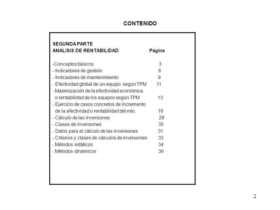 CONTENIDO SEGUNDA PARTE ANALISIS DE RENTABILIDAD Página