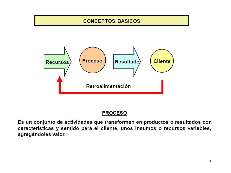 CONCEPTOS BASICOSRecursos. Proceso. Resultado. Cliente. Retroalimentación. PROCESO.