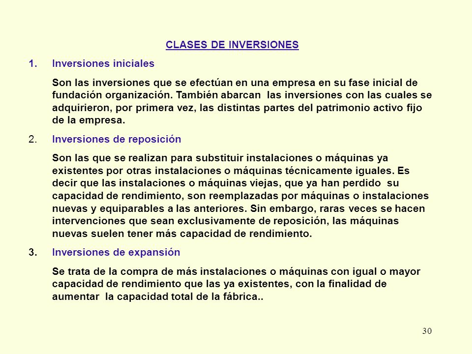 CLASES DE INVERSIONESInversiones iniciales.